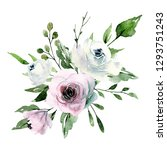 watercolor flowers  pink and... | Shutterstock . vector #1293751243