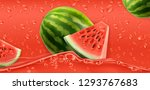 red drops. watermelon. 3d... | Shutterstock .eps vector #1293767683