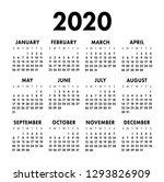 Calendar 2020 Year. Black And...