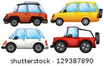 illustration of four cars with... | Shutterstock .eps vector #129387890