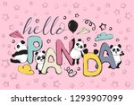 color hello panda greeting card ... | Shutterstock .eps vector #1293907099
