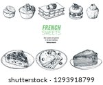 french desserts set with creme... | Shutterstock .eps vector #1293918799
