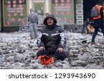 man  protester  sitting on a...   Shutterstock . vector #1293943690