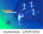 global outsourcing. a man with... | Shutterstock .eps vector #1293972553
