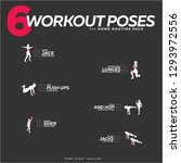set of 6 workout poses home... | Shutterstock .eps vector #1293972556