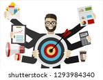 happy businessman with many... | Shutterstock .eps vector #1293984340