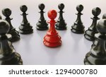 bullying  concept  red pawn of... | Shutterstock . vector #1294000780