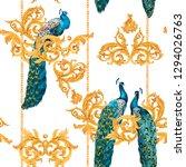 watercolor golden baroque... | Shutterstock . vector #1294026763