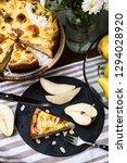 top view of piece of pear pie...   Shutterstock . vector #1294028920