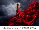 woman in red dress dance over... | Shutterstock . vector #1294029706