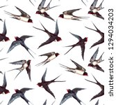 Stock photo watercolor pattern with birds swallows 1294034203