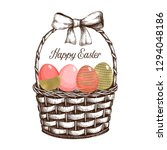 happy easter background. gold... | Shutterstock .eps vector #1294048186