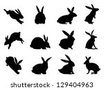 Stock vector rabbit silhouettes 129404963