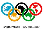 Olympic Rings With Continents