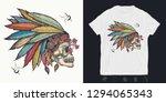 indian skull. print for t... | Shutterstock .eps vector #1294065343