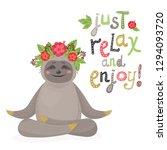 vector cute cartoon sloth relax.... | Shutterstock .eps vector #1294093720