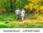 Stock photo nordic walking senior couple 1294097683