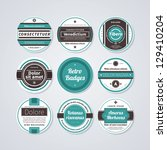 set of 9 circle labels in retro ... | Shutterstock .eps vector #129410204