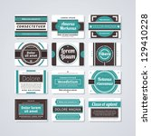 set of 12 rectangle retro... | Shutterstock .eps vector #129410228