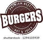 vintage burgers restaurant menu ... | Shutterstock .eps vector #1294105939