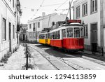 Yellow And Red Vintage Tram On...