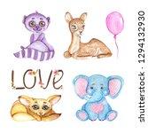 watercolor cute animals. cute... | Shutterstock . vector #1294132930
