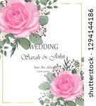 wedding invitation with rose... | Shutterstock .eps vector #1294144186