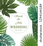 wedding invitation with leaves...   Shutterstock .eps vector #1294144189