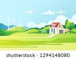 spring rural landscape.... | Shutterstock .eps vector #1294148080