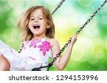 little child blond girl having... | Shutterstock . vector #1294153996