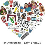 cartoon cute hand drawn cinema. ... | Shutterstock . vector #1294178623