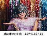 masquerade woman celebrating... | Shutterstock . vector #1294181416