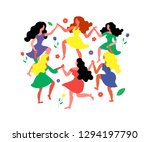 women's round dance and flowers.... | Shutterstock .eps vector #1294197790
