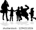 vector silhouette of family. | Shutterstock .eps vector #1294211026
