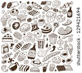 fast food   doodles set | Shutterstock .eps vector #129421694