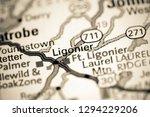 Ligonier. Pennsylvania. USA on a map