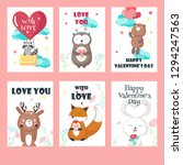 set of valentine day cards with ... | Shutterstock . vector #1294247563
