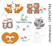cute romantic animals couples.... | Shutterstock . vector #1294247566