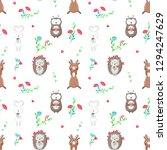 pattern with cute owl  hedgehog ...   Shutterstock . vector #1294247629