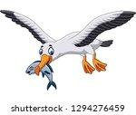 cartoon albatross eating a fish | Shutterstock .eps vector #1294276459