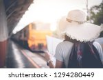 traveler with backpack and hat... | Shutterstock . vector #1294280449