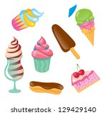 set of cute sweets icons | Shutterstock .eps vector #129429140