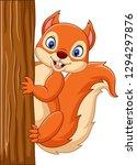 Cartoon Cute Squirrel Climbing...