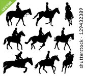 Stock vector horse riding silhouettes vector collections 129432389