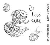 vector doodle cute fish and... | Shutterstock .eps vector #1294349206