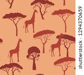 seamless pattern with giraffe...   Shutterstock .eps vector #1294370659