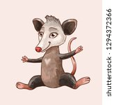 cartoon possum or rat sitting... | Shutterstock .eps vector #1294372366