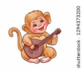 cartoon monkey plays guitar or... | Shutterstock .eps vector #1294373200
