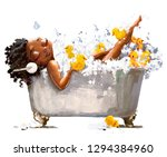 young african woman in bath... | Shutterstock . vector #1294384960