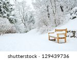 Park Bench And Trees Covered By ...